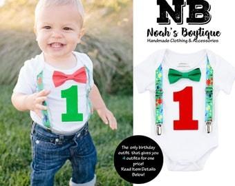 First Birthday Dinosaur Outfit - Shirt - 1st Birthday Boy - Dinosaur Party - Dinosaur Theme - Dinosaur Outfit - Dinosaur Suspenders - Green