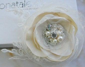Wedding Hairpiece, Wedding Hair Flower ,Bridal Headpiece,Wedding Headpiece ,Champagne Pink Fascinator ,Flower Headpiece ,Bridal Hair Flower