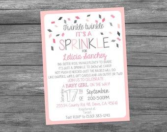 Twinkle Twinkle It's a Sprinkle, Baby Sprinkle, Baby Shower Digital Invitation