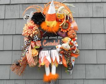 Candy Corn Wreath, Witch Wreath, Door Wreath, Halloween Wreath, Wall Wreath, Good Witch Wreath, Grapevine Wreath, Designer Wreath