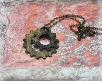 Double Gear Pendant Necklace in Black and Gold, OOAK Unique Handmade Steampunk Jewelry Unisex Jewelry Gift for her Gift for him