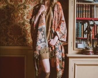 Brown and orange fringe paisley kimono - Hippie boho festival bridal kimono - gypsy kimono - aztec print kimono