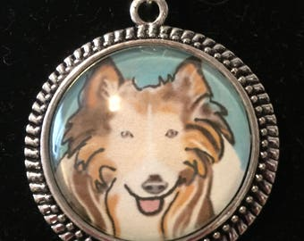 SALE 2.00 oFF  Collie dog pendant, original art work ,with dome 1 and 1/2 inch