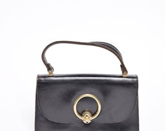 Vintage Black Leather 1960's Mini Handbag with Gold Clasp