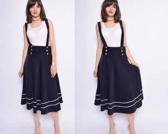 Vintage 90's Suspenders Navy Blue Skirt / High Waisted Button Marine Skirt - Size Medium