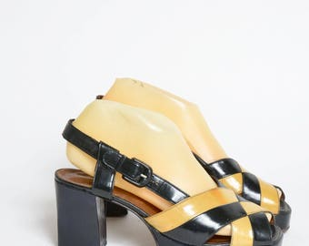 Vintage 70's Chunky Black and Brown Patent Leather Chunky Heel Platform Sandal Clogs