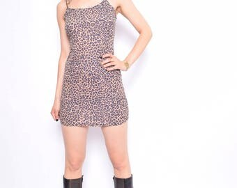 Vintage 90's Leopard Print  Mini Dress / Strappy Leopard Dress - Size Small