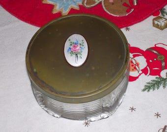 vintage footed glass powder jar metal lid