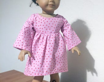 60s Style Swing Dress for 18 inch dolls / American Girl doll / Pink / Kitsch