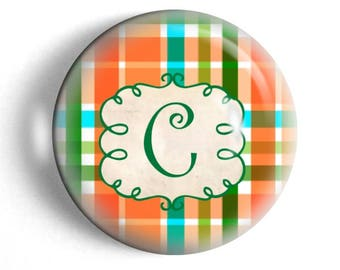 Personalized paperweight, custom initial, large paperweight, desk accessory, preppy plaid design, co-worker gift for girlfriend