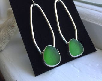 Sea Glass Lime Green Earrings Genuine Hand Forged Hammered Mermaid Sterling Silver Dangle