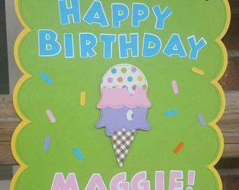 Ice Cream Birthday Door Sign
