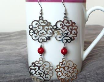 Red coral earrings, filigree earrings, long earrings, chandelier, gypsy hippie earrings, stainless steel earrings, FREE shipping !