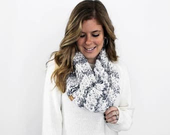 Chunky Knit Infinity Scarf, Knitted Scarves Cowl Marble- Cheverly Cowl