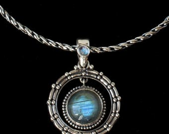 Silver Labradorite Moonstone Necklace: UNITY
