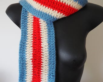 70s mod hand knitted red white & blue scarf