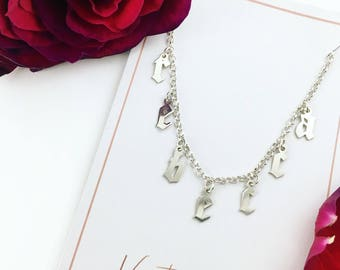 Sterling Silver Old English Choker/ Gothic Choker Necklace/ Silver Name Choker/ Custom Silver Choker/ Old English Necklace/ Silver Choker