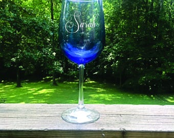 Blue Laser Engraved Wine Glass...FREE ENGRAVING
