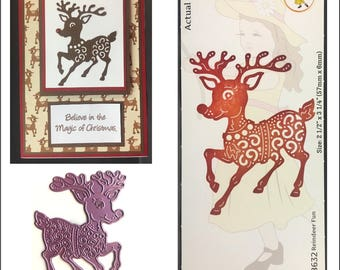Christmas cutting dies - Reindeer Fun Cheery Lynn metal Die - B632 Cuttlebug & most machine compatibility for handmade cards and scrapbooks