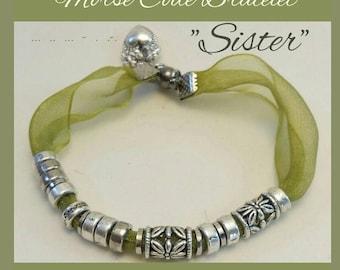 Sister Christmas gift, Morse code bracelet , organza bracelet, silver, tibetan beads, green bracelet, gift for sister,  sister jewellery,