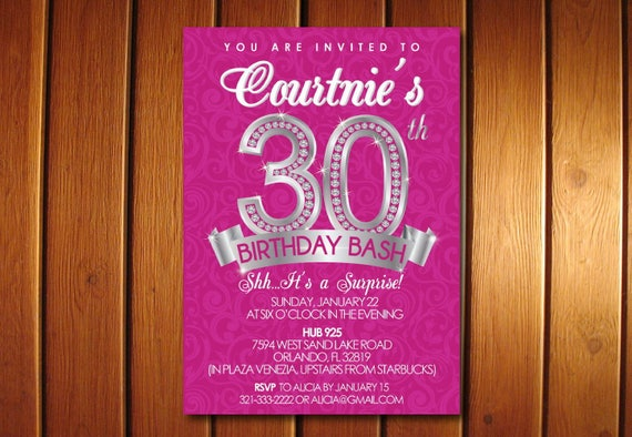 30th Birthday Invitation Surprise 30th for Her Adult Birthday