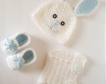 Crochet Bunny Hat, Diaper Cover and Booties