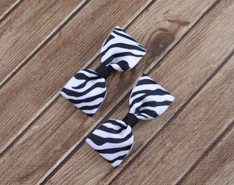 Zebra Hair Bows, Pigtail Hair Bows, Pigtail Bows, Toddler Bows, Hair Clips, Tuxedo Bows, Baby Hair Bows, Black and White Bows, Zebra Bows