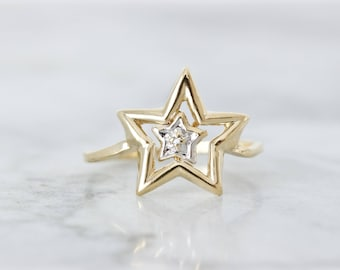 Vintage Star Ring | Gold Statement Ring | Mother Daughter Ring | 10k Yellow Gold | Celestial Jewelry | Geometric Ring | Size 7.75 Sizable
