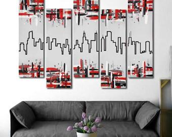 "Original Chicago skyline painting. 41x64"" Red and black Chicago art. 5 piece canvas art. Modern wall art."