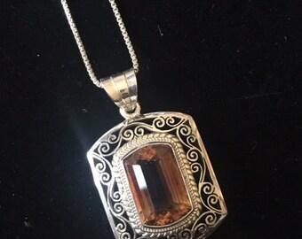 Cushion Cut Citrine and fine silver pendant