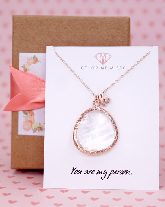 Rose Gold Huge Round Glass drop Jewelry Set - Necklace, gifts for her, bridal gifts, pink rose gold weddings, bridesmaid jewelry N234