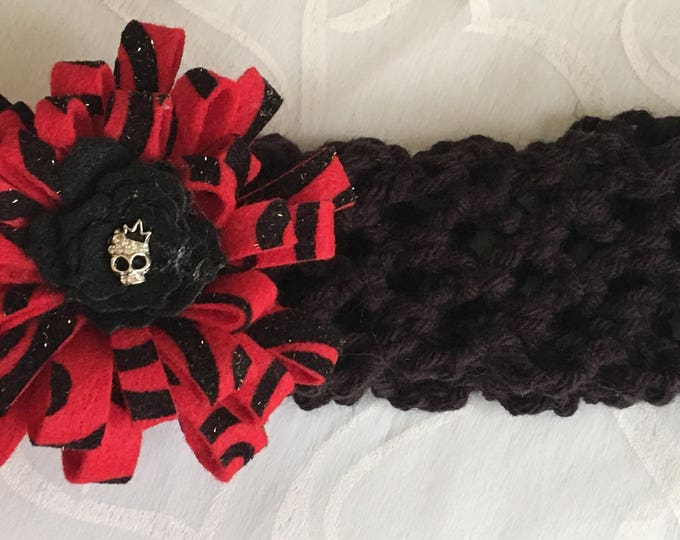 Crocheted Flower- Stretchy Headbands- Skull Charm-READY TO SHIP-Halloween Clip-Black and Red Hairband