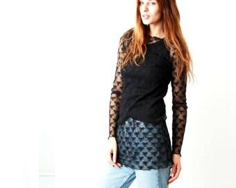 90s Black Lace Blouse / Black Sheer Blouse / 90s Sheer Blouse / Floral Blouse / Romantic Blouse / Size M