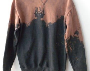 Gray Sweatshirt, crewneck sweatshirt, dip dyed, jumper, Boho Chic, Grunge, acid wash sweatshirt, tie dye, rocker, graphic, Gift
