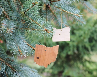 Wooden State Ornaments | Christmas Ornaments | Wooden Ornaments