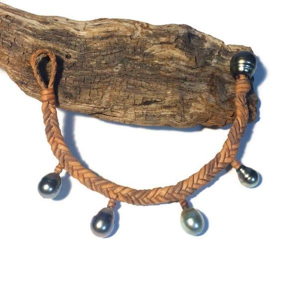 Tahitian pearls on Australian leather - women's braided bracelet, dangling pearls