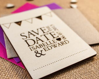 KATE // Wedding Stationery // Wooden Save the Date