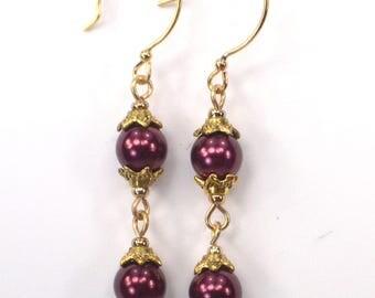 Burgundy Pearl Earring Dangles, Burgundy Pearl Link Earrings, Purple & Gold Earring Drops, Gold Capped Link Earrings (E935)