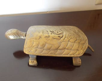 Vintage~Large~Brass~Turtle~Tortoise~Figurine~Jewelry~Trinket~Box~Hinged Lid~Collectable~Metal Turtle~60's~Home~Decor~Metal Animal~Asian~Desk