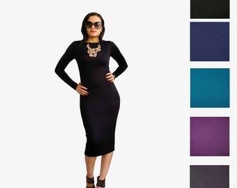 Little Black Dress - Elegant Dress - Plus Size Dress - Midi Pencil Dress - LBD - Long Black Dress - Long Sleeve - Boat Neck - Tall Clothing