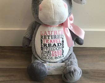 Retirement gift. Embroidered stuffed animal.  Choose from any in stock animal.