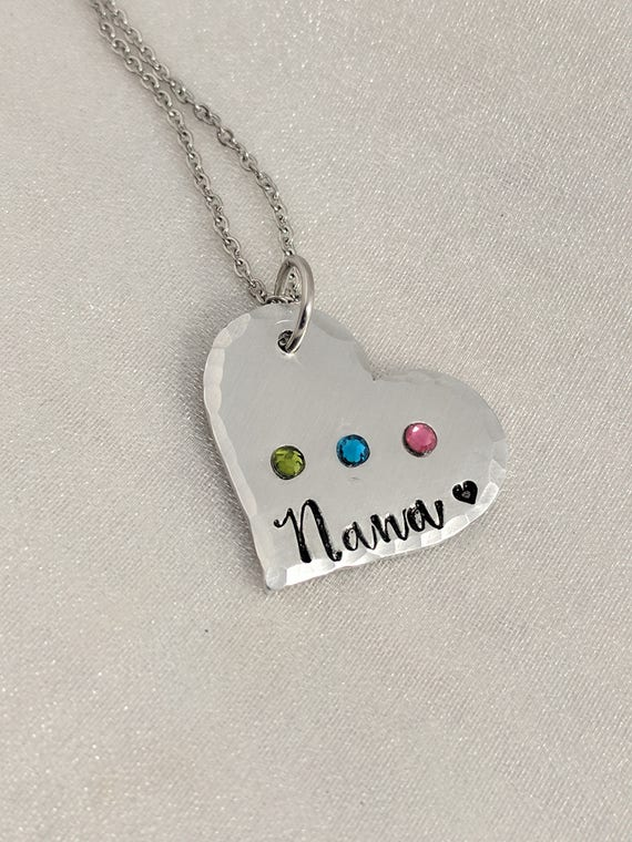 Grandma Necklace - Nana Necklace - Gift for Grandma - Grandkids Birthstone Necklace - Christmas - Heart Necklace - Exquisite Stamp Design