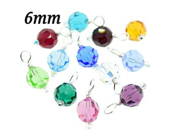 Add On Item - 6mm Birthstone Swarovski Crystal Bead Round Charm Pendant Hand Wrapped Sterling Silver Attachment Choice for Necklace