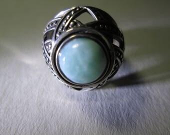 Ring, size 6... Larimar...basket weave.. sterling silver