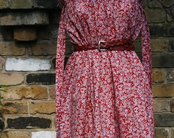 Lovelucy Red Vintage Floral 100% Cotton Strapless Dress/Skirt handmade in the UK