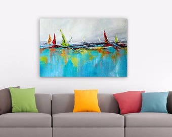 Abstract Seascape Print, Red Green Gray Blue Abstract Art, Coastal Painting Yacht, Boat, Giclee Print from Original Artwork, Canvas Print