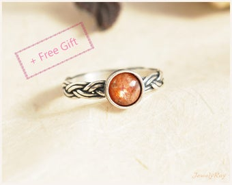 Sunstone Ring, Good luck ring, Meaningful ring, Orange ring, Everyday ring, Braided ring, Unique Silver ring, Unique gemstone ring