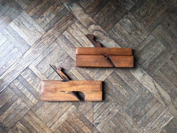 Pair of Antique Wood Planes, J. Goettel, Vintage Wood Working Planes, Finishing Planes, Antique Hand Tools