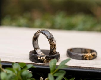 Black Resin Ring With Gold Flakes- Thin Faceted Band Ring - Resin Stacking Ring - Minimal Resin Jewelry