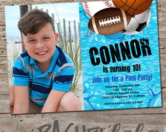 Sports pool invitation with picture, Birthday Invitation, Printable, swim party